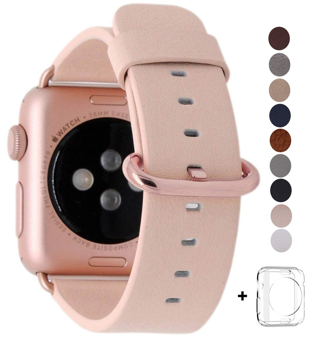 JSGJMY Compatible Apple Watch Band 42mm Women Genuine Leather Loop Rose Gold Metal Clasp Compatible Apple Watch Series 3/Series 2/Series 1/Edition/Sport(Soft Pink+Rose Gold Buckle)