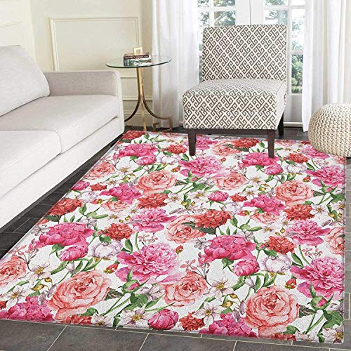 Watercolor Flower Non Slip Rugs Victorian Floral Pattern Painting Style Print with Peonies and Roses Door Mats for Inside Non Slip Backing 5'x6' Pink Red White
