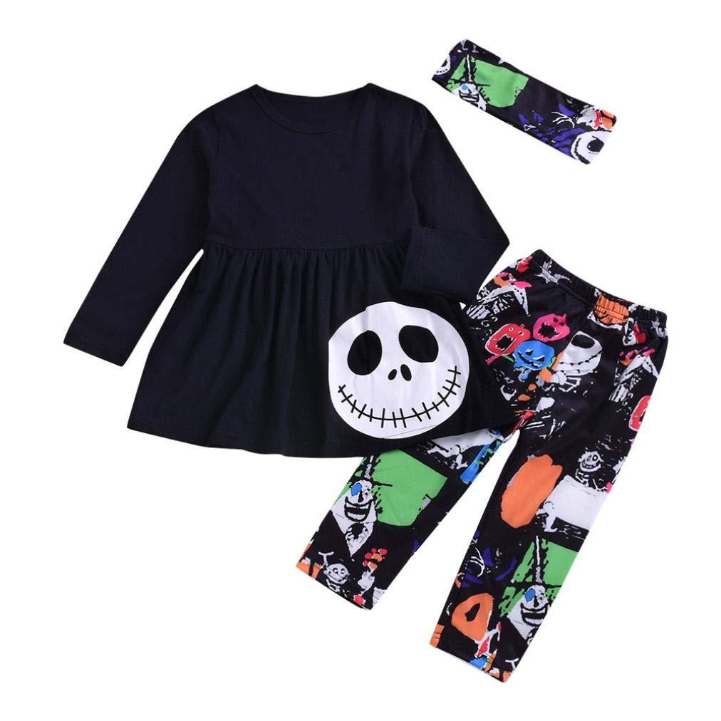 Yesyes Little Girlsハロウィンスカル衣装、2ピースPumpkinフリルドレスパンツ衣装セット、Best Size:3T ブラック cqc429 Size:3T ブラック B07G84KGPB