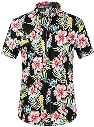 Xpenyo Camisa hawaiana floral de piña para hombre de verano casual con botones de manga corta Aloha blusa
