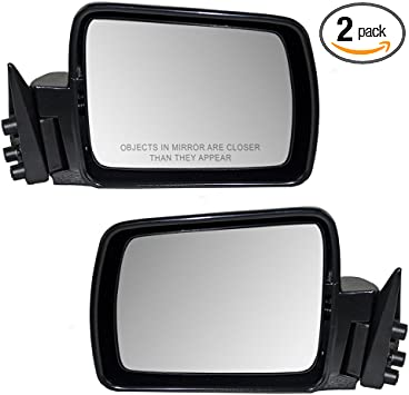 Driver and Passenger Manual Side View Mirrors Textured Replacement for Jeep SUV 55154947AC 55154946AC