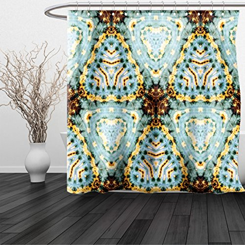 HAIXIA Shower Curtain Tie Dye Classic Tie Dye Batik Motif with Bizarre Oriental Multiple Icons Aesthetic Brown Blue (Cactus Ring Toss Game)