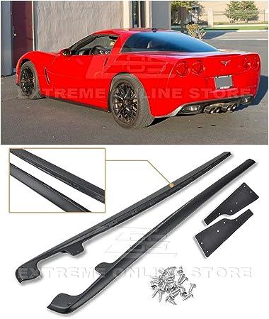 Extreme Online Store EOS ZR1 Style ABS Plastic Primer Black Rocker Panels Side Skirts Extension W//Mud Flaps 1 Pair 2005-2013 Chevrolet Corvette C6 Base Models