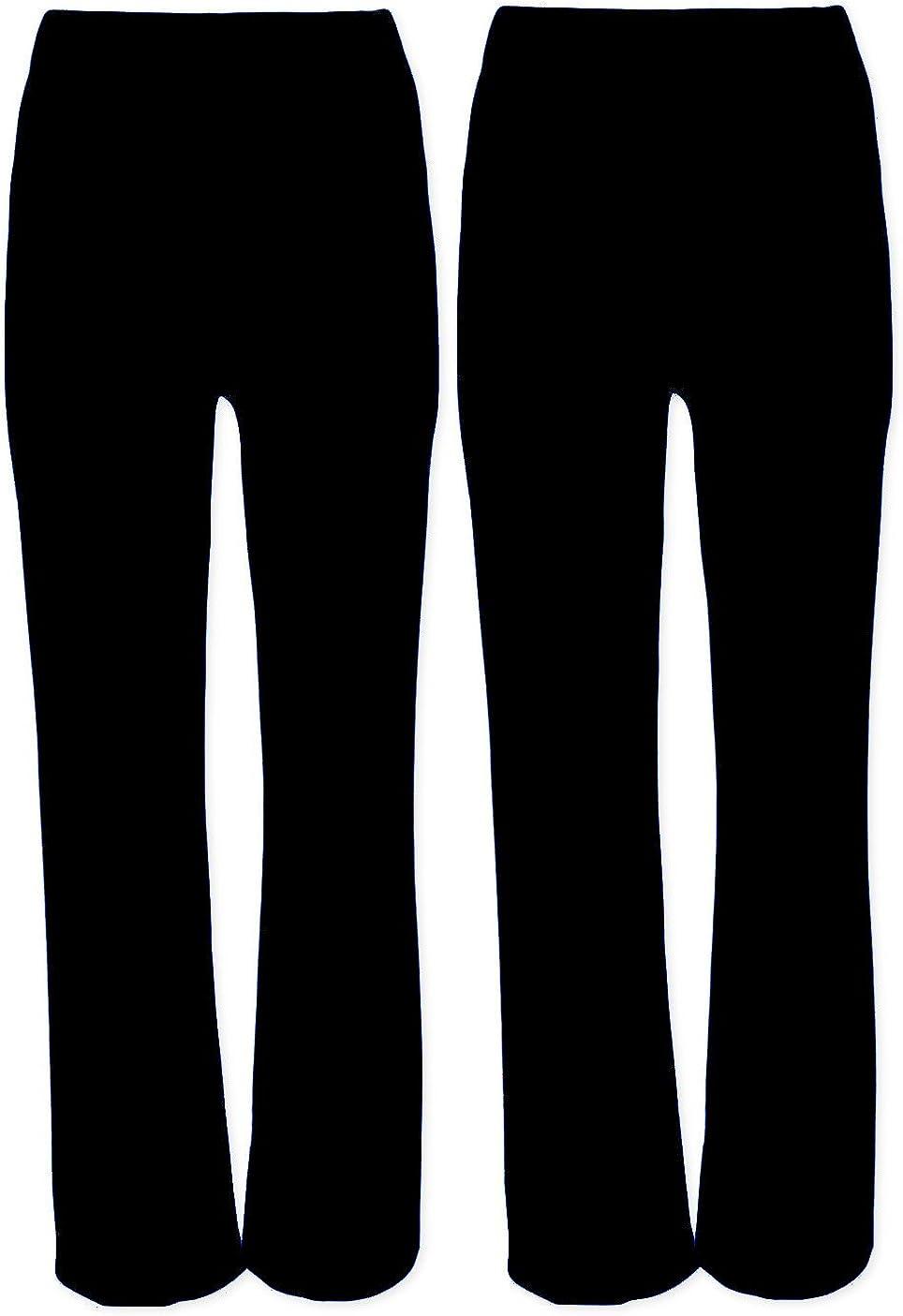 Pantalones elásticos para mujer, 2 piezas, acampanado, acanalado, talla 8-26, color negro