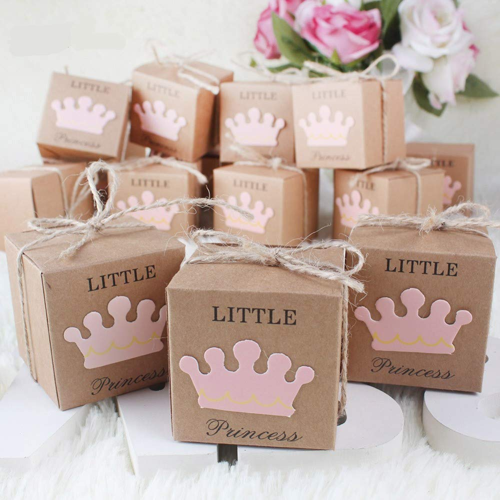 50Pcs Little Prince Little Princess Baby Shower Favor Boxes + 50Pcs Twine Bow, Rustic Kraft Paper Candy Bag Gift Box for Baby Shower Party Supplies (Style:Little Prince) Wishlink