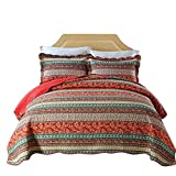 mixinni 100% Cotton 3 Piece Striped Boho Style Bedspread Quilt Sets, Reversible&Decorative-(1 Quilt 68'' x 86'' + 1 Pillow Shams 20'' x 28''), Twin Size, Red