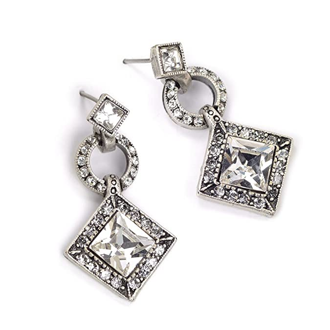 Vintage Style Jewelry, Retro Jewelry Sweet Romance Art Deco Diamond Harlequin Wedding Earrings E1103 $46.00 AT vintagedancer.com