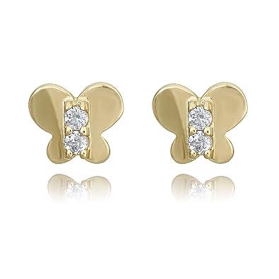 953163628 Amazon.com: 10K Gold Yellow Butterfly Simulated Diamond CZ Screw ...