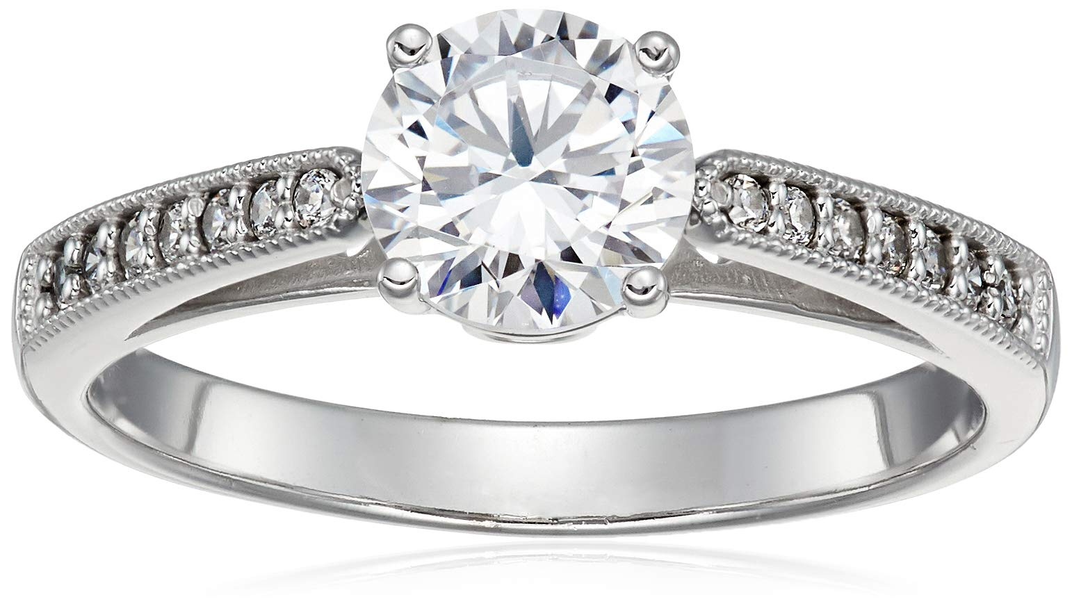 Size 6.5 - Solid 14k White Gold Milgrain Band with Round Brilliant Cut Solitaire with Round Side Stones CZ Cubic Zirconia Engagement Ring 1.5ct.