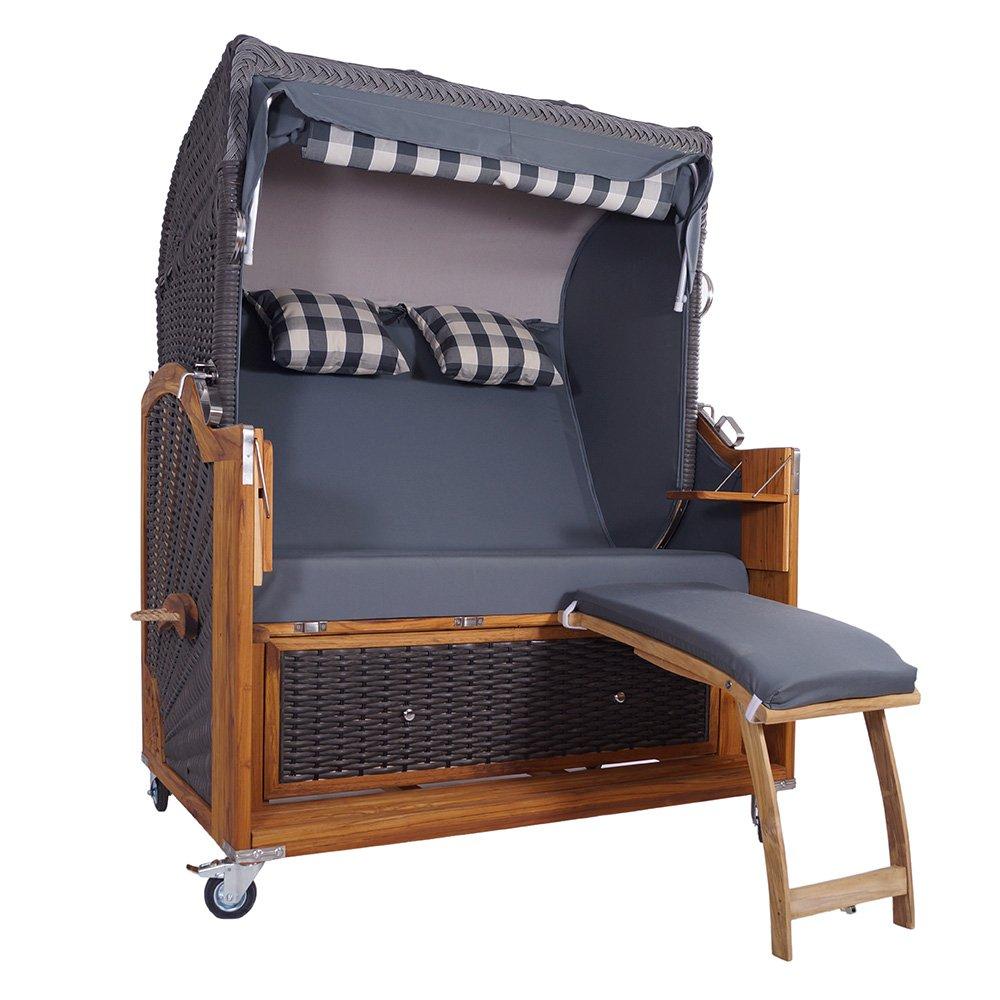 Strandkorb Kampen 2,5-Sitzer in Mocca Duo 57528 Volllieger Polyrattan