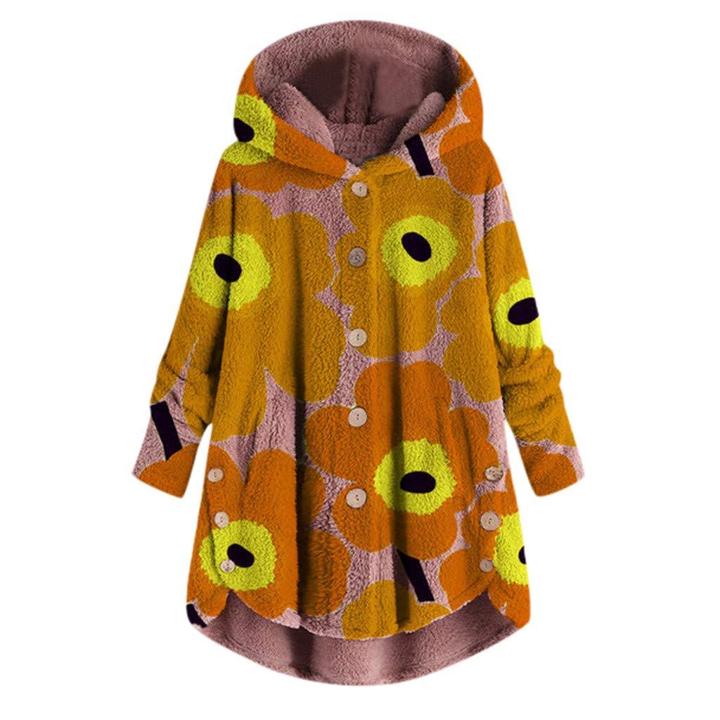iHENGH Damen Herbst Winter Bequem L/ässig Mode Jacke Frauen Mode Frauen Knopf Mantel Flauschige Schwanz Tops Mit Kapuze Lose Mantel