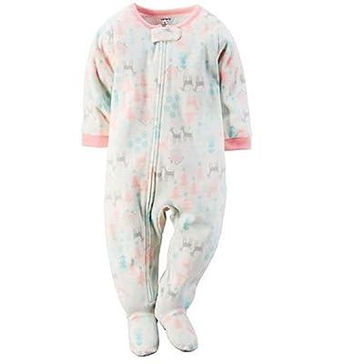 Carter's Baby Girl's Winter Deer Snow Themed Fleece Footed Sleep 'n Play