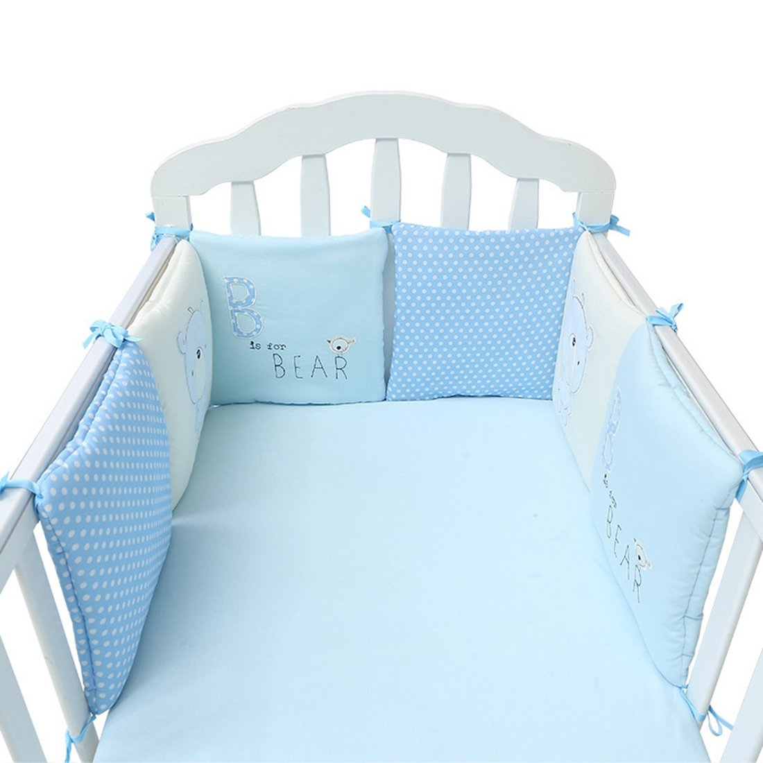 Pinji 6PCS Cotton Baby Crib Bumper Liner Cot Bed Protector Bedding Set 5#
