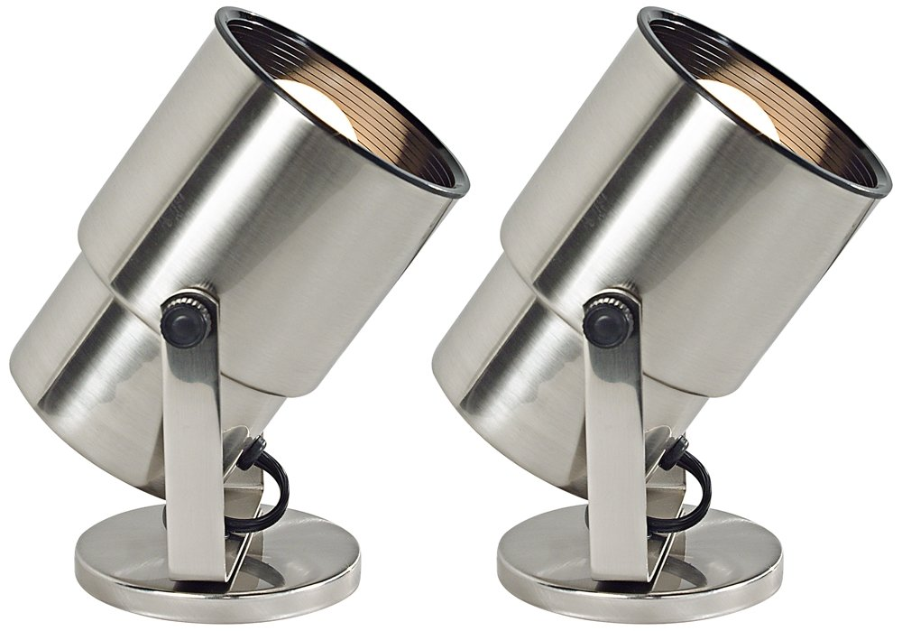 Brushed Steel 8'' High Accent Uplight Set of 2