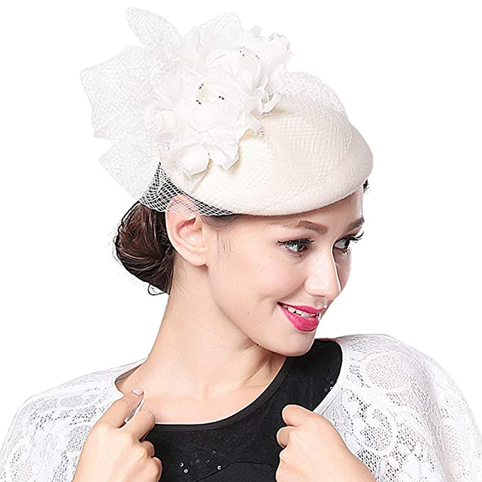 9a0e2bef Women Fascinator Pillbox Hat Wedding Party British Bowler Headband with  Veil Flower Hair Clip Headwear: Amazon.co.uk: Clothing