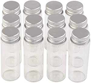 24units 14ml Mini Jars Crafts Glass Bottles with Aluminium Cap Liquid Pill Powder Ornament Bottles Empty Glass Vials Jars (24, 14ml)