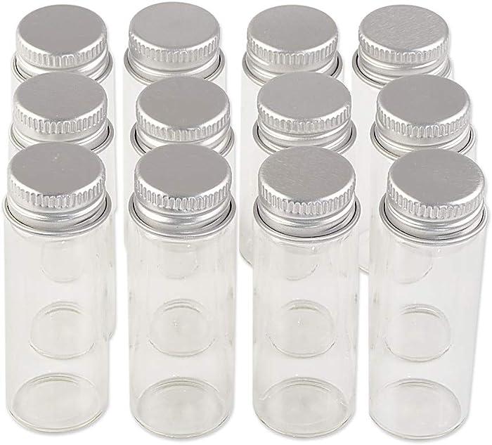 24units 14ml Mini Jars Crafts Glass Bottles with Aluminium Cap Liquid Pill Powder Ornament Bottles Empty Glass Vials Jars (24, 14ml)