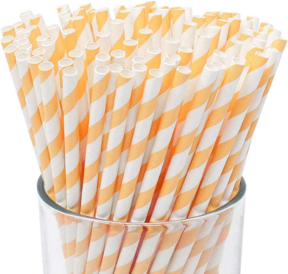 Just Artifacts Premium Biodegradable Disposable Drinking Paper Straws (100pcs, Apricot)