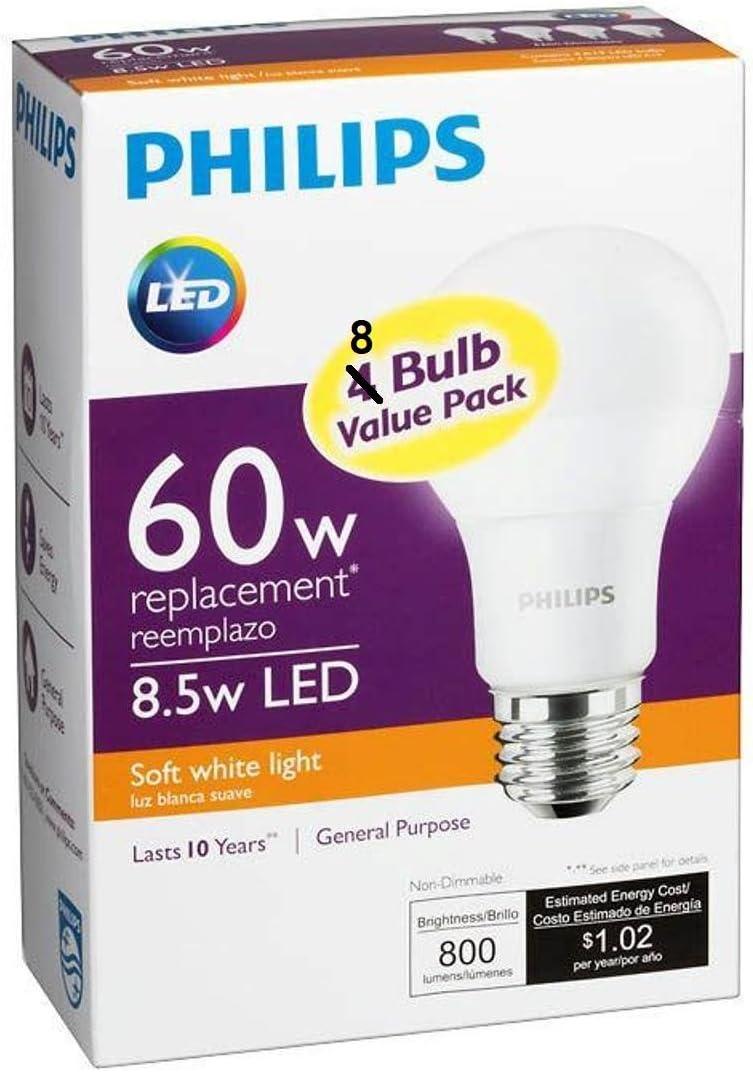 Philips 455576 60W Equivalent 2700K A19 LED Light Bulb, Soft White (2-Pack)  - - Amazon.com