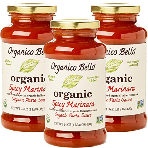 - Organico Bello - Organic Gourmet Pasta Sauce - Spicy Marinara - 24oz (Pack of 3) - Non GMO, Whole 30 Approved, Gluten Free