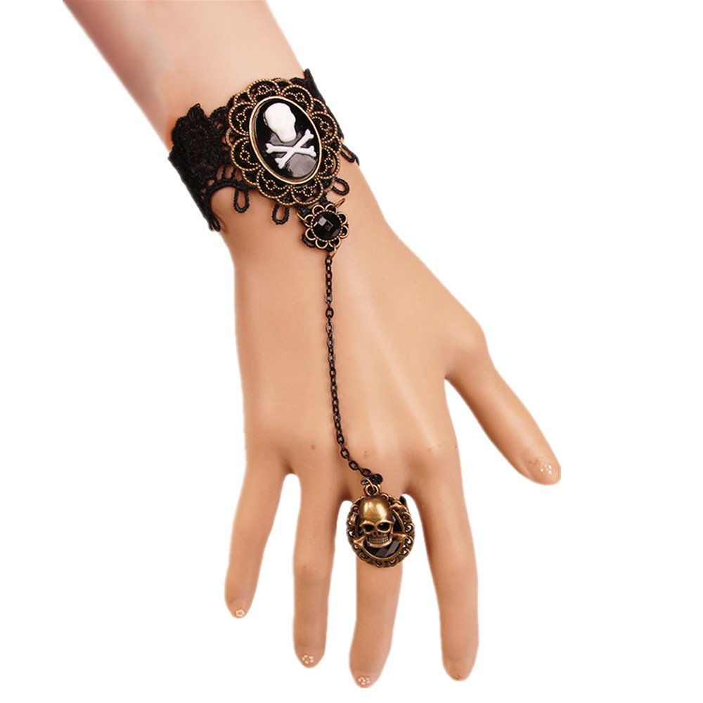MIUNIKO Women Holiday Personality Pirate Skull Bracelet Wristband with Finger Ring Jewelry Accessory