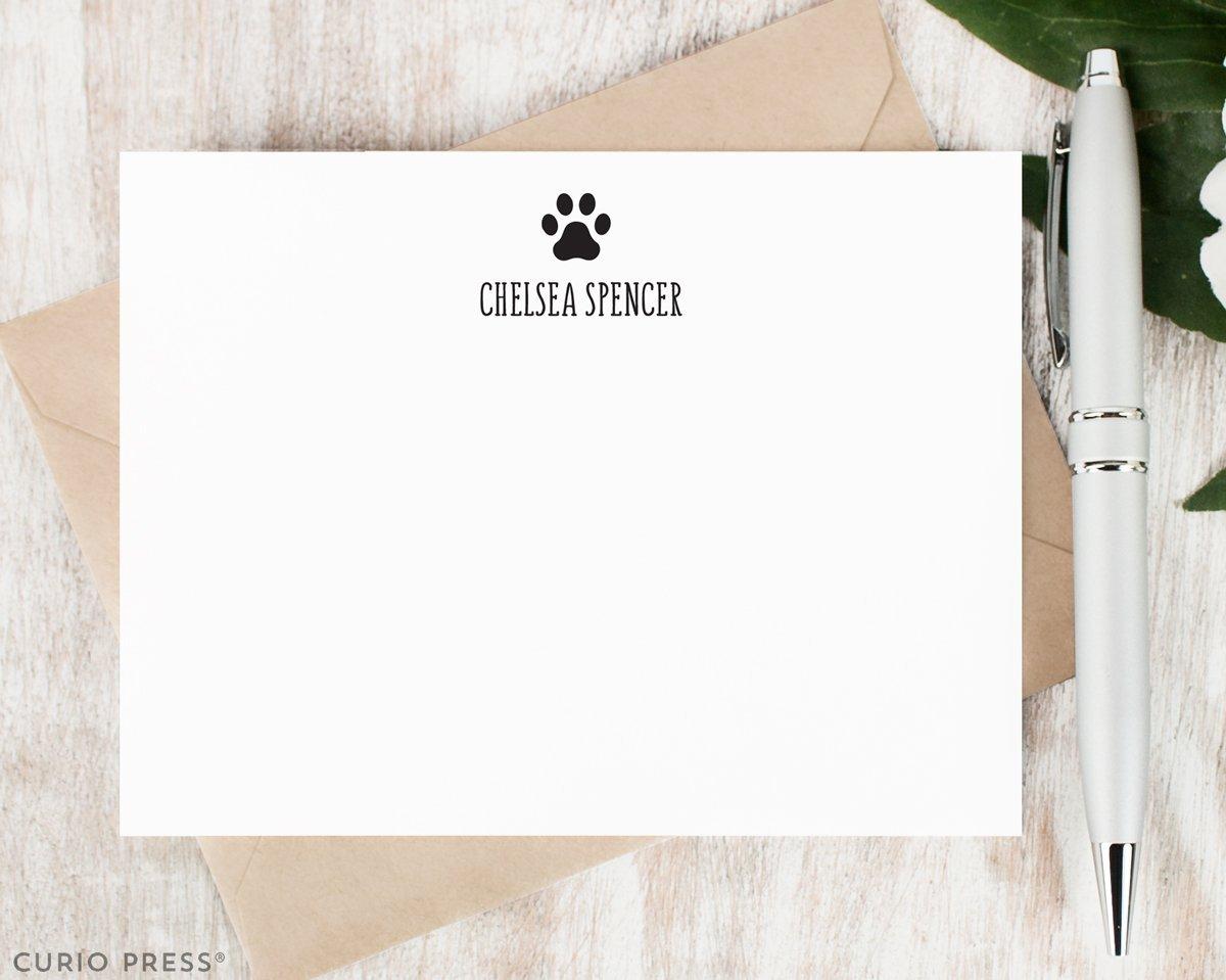 PAWS - Personalized Flat Dog Notecard Stationery/Stationary Set