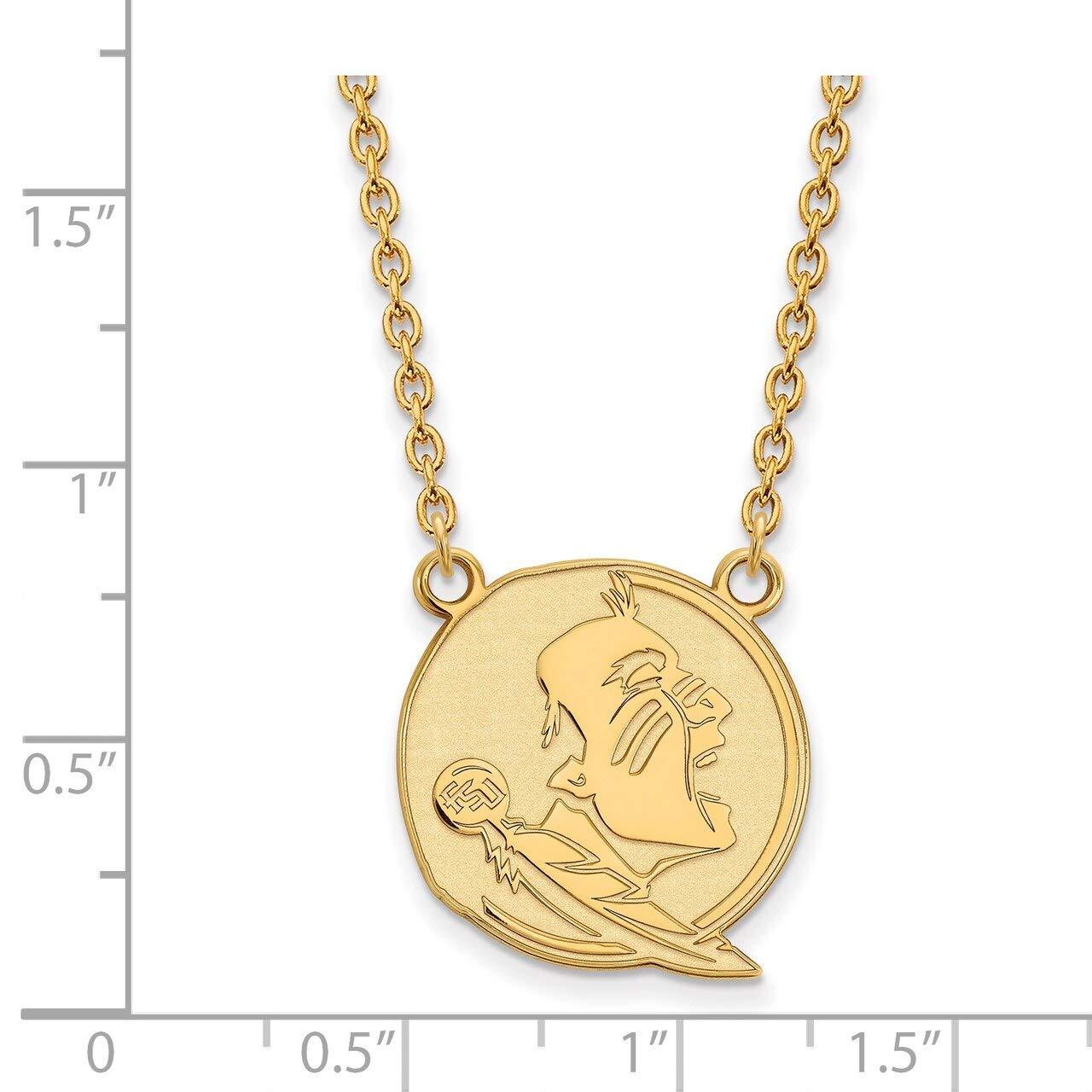 Lex /& Lu LogoArt Gold Plated Sterling Silver Florida State University Lg Pendant w//Necklace