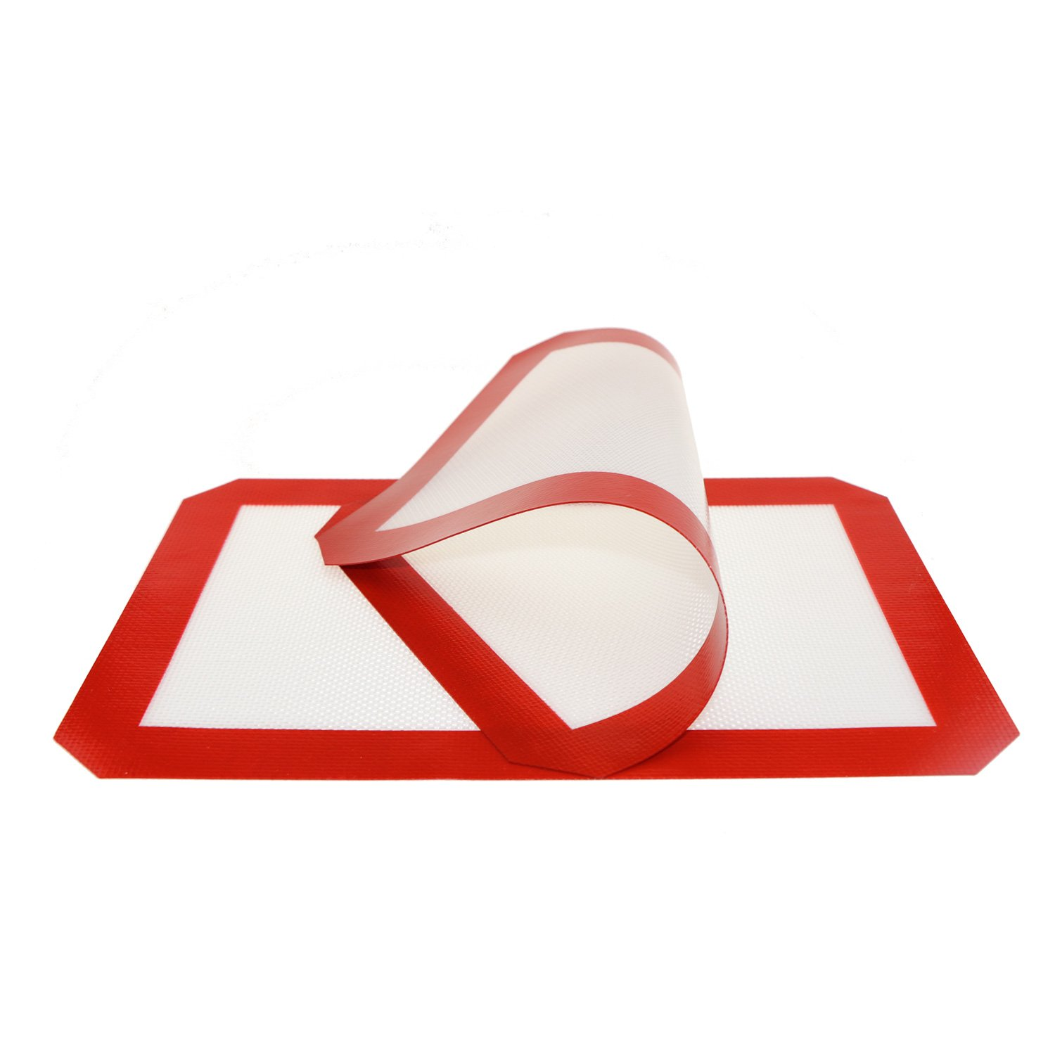 Aowecke Non-stick Silicone Baking Mat, Toaster Oven Liner, Cookie sheet, Half Sheet Size, 11-5/8'' x 16-1/2'', 2-pack(Red) (Red)