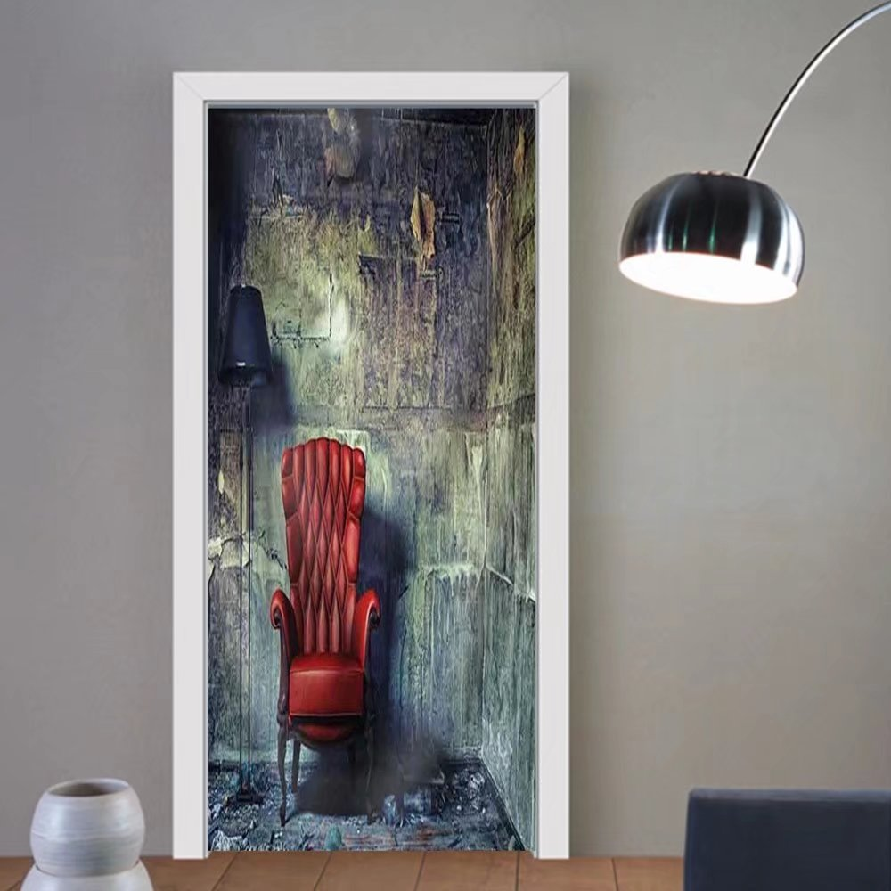 Gzhihine custom made 3d door stickers Luxury Armchair in Grunge Interior Photo Compilation Photo and Hand Drawing Elements Combined Fabric Home Decor For Room Decor 30x79