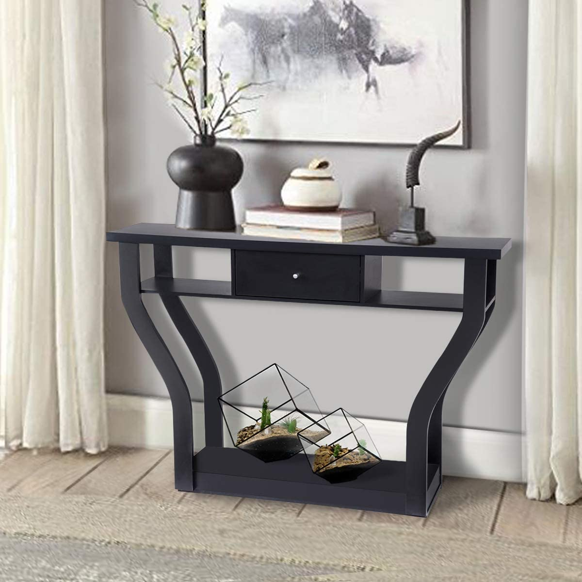 Giantex Console Hall Table for Entryway Small Space Sofa Side Table with Storage Drawer and Shelf Home Office Living Room Furniture Narrow Accent Hall Table Black