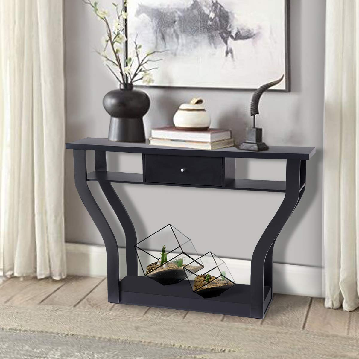 Giantex Console Hall Table for Entryway Small Space Sofa Side Table with Storage Drawer and Shelf Home Office Living Room Furniture Narrow Accent Hall Table (Black)