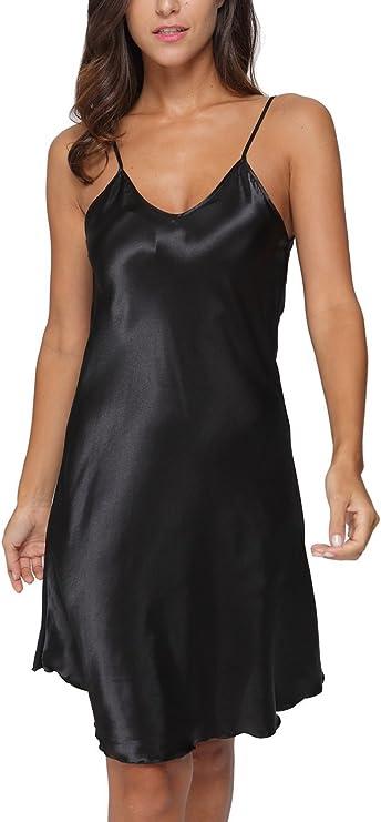Nightgown Dress  Cool Satin Elegant A-frame Design Shoulder Straps Adjustable