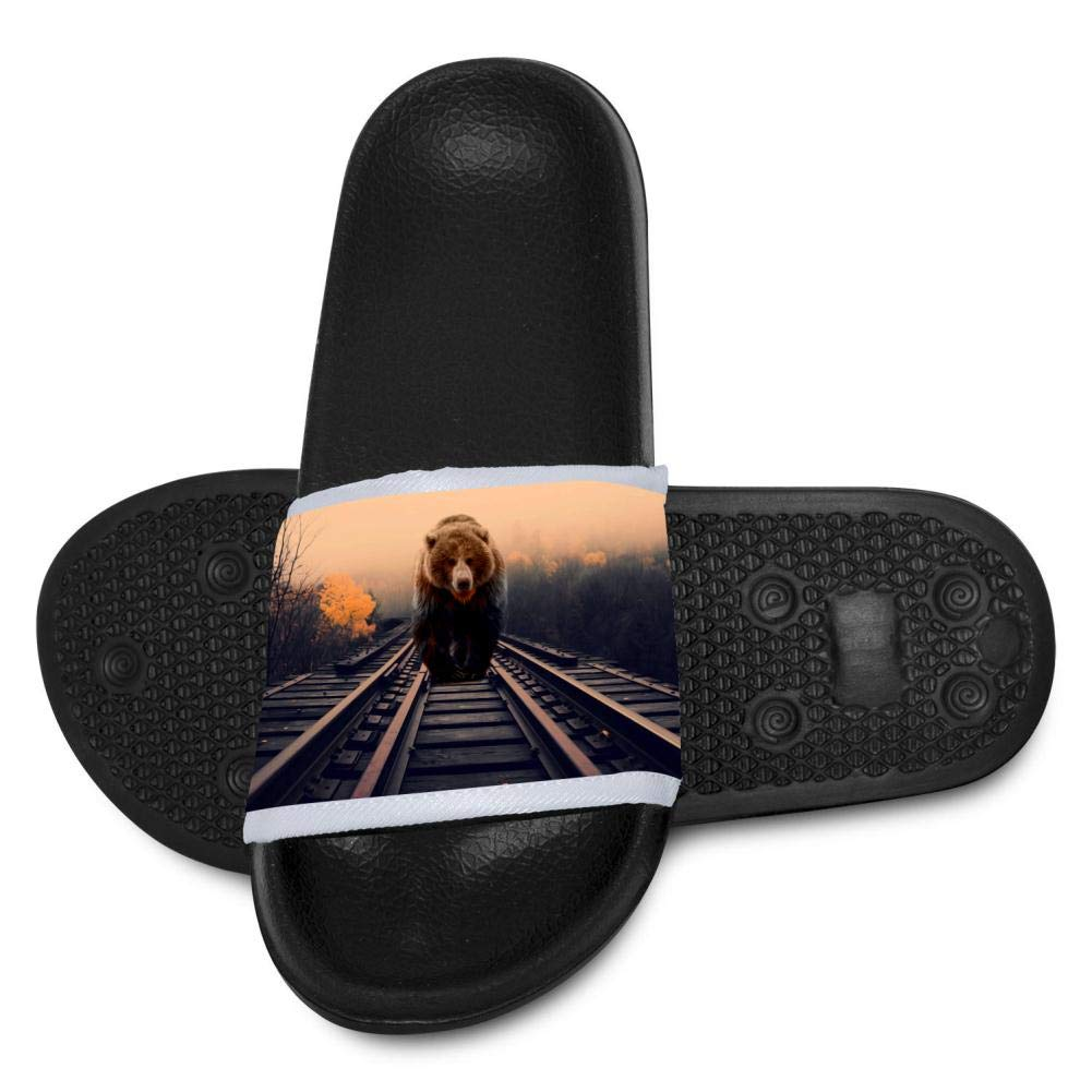 Gujigur Bear Train is Working Slippers for Boy Girl Casual Sandals Shoes Creative 3D Printed Graphic Hipster Design
