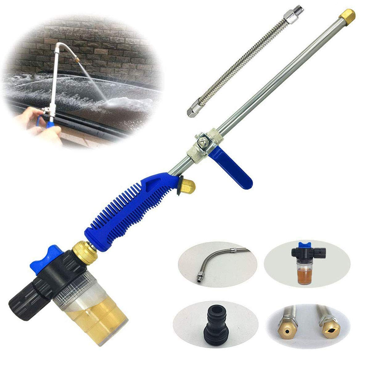 Hydro Jet High Pressure Glass Cleaner - 27'' Extendable Power Washer Wand, Water Hose Attachment Nozzle, Flexible Auto Washer, Snow Foam Cannon, Watering Sprayer, Car Wash, Window Washing, 2 Tips by Buyplus (Image #7)