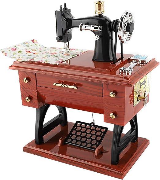 Mini máquina de Coser Caja de música Retro, Estilo de máquina de Coser de Escritorio Colección de Caja de música Aniversario Regalo de cumpleaños Decoración de Mesa: Amazon.es: Hogar
