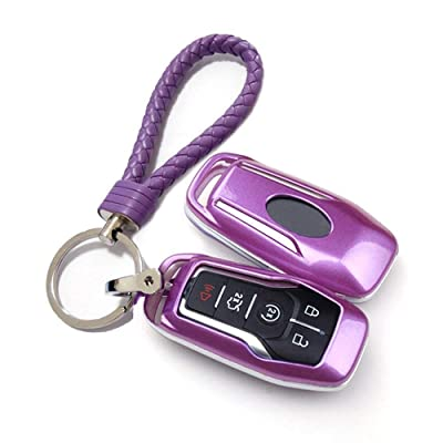 Thor-Ind ABS Car Key Fob Case Cover Key Chain for Ford Taurus Mustang F-150 F-450 Explorer Fusion Edge Lincoln MKC MKZ MKX 4/5-Button Smart Key Glossy Plastic Protective Shell (Purple): Automotive