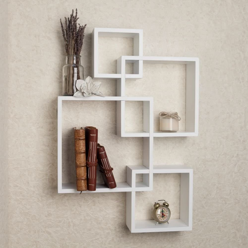 Goujxcy Wall Shelf,25 Cube Intersecting Squares Floating Shelves Square Wall  Mounted Shelves Home Decor Furniture Decorative Wall Shelf White