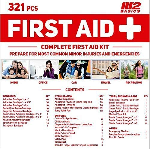 M2 Basics 321 Piece Premium First Aid Kit w/Wall Mount Hard Case | Free First Aid Guide | Emergency Medical Supply | Home, Office, Outdoors, Car, Camping, Travel, Survival, Workplace by M2 BASICS (Image #4)