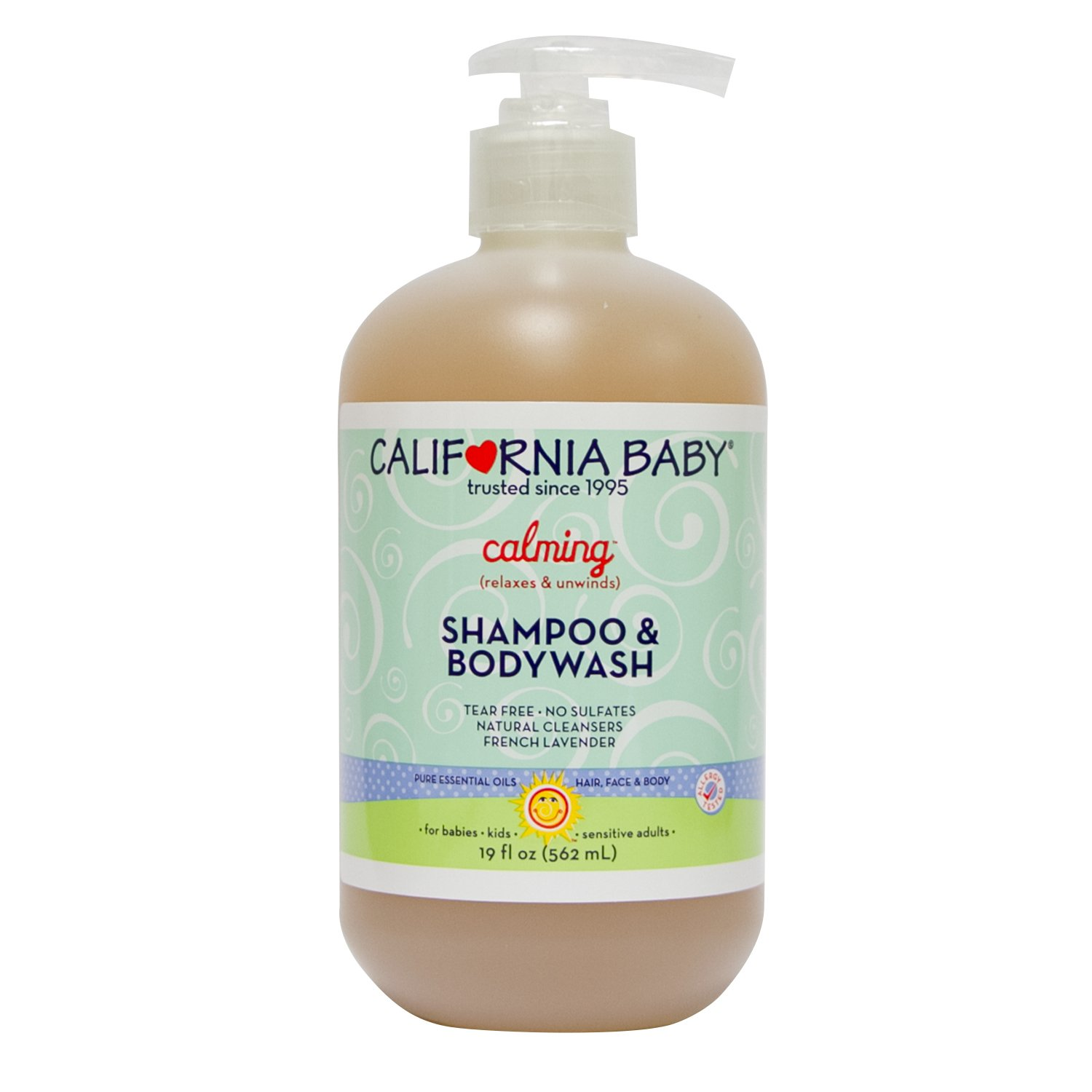 California Baby Calming Shampoo and Body Wash - Hair, Face, and Body | Gentle, No Fragrance, Allergy Tested | Dry, Sensitive Skin, 19 Ounces by California Baby