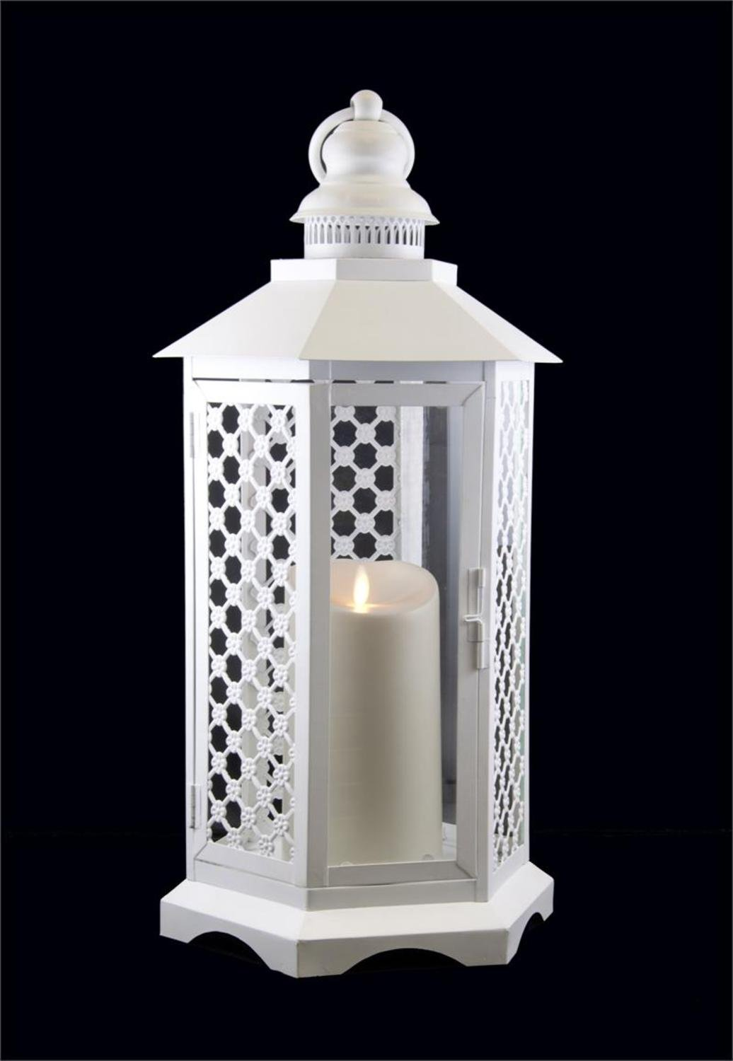 Floral Lattice Lantern with Luminara Flameless LED Lighted Candle
