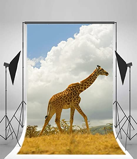 7x10 FT Giraffe Vinyl Photography Background Backdrops,Vintage Safari Savannah with Animal Silhouettes and Abstract Sunset on Zigzags Background for Selfie Birthday Party Pictures Photo Booth Shoot