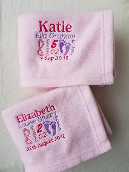 PERSONALISED BABY DIMPLE BLANKET EMBROIDERED KEEPSAKE NEWBORN GIFT NAME DATE
