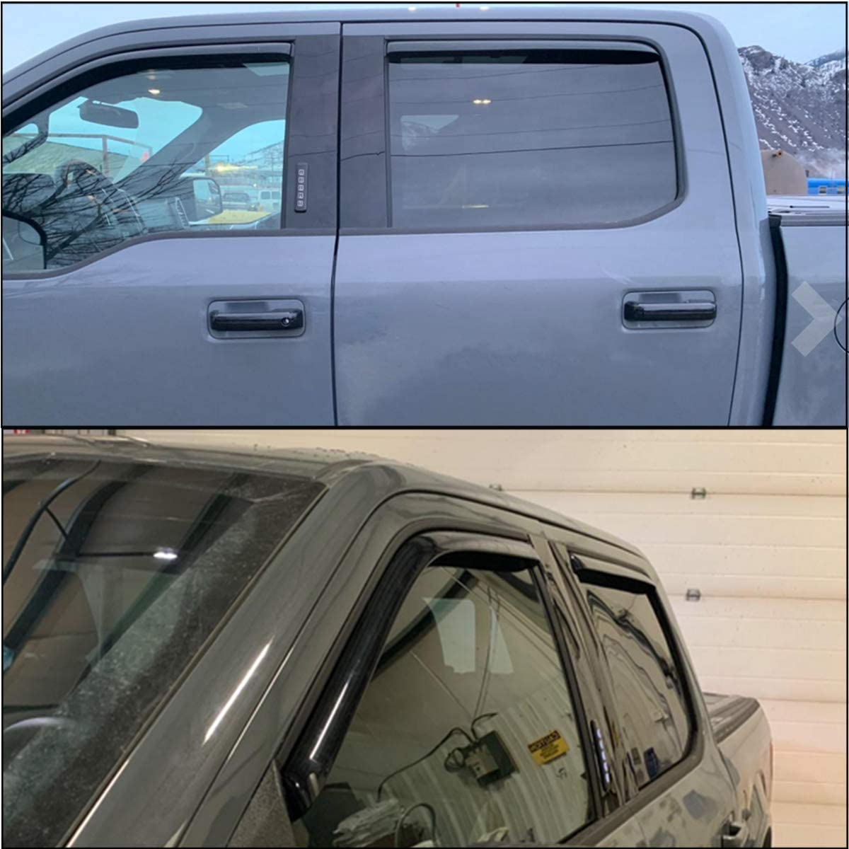 Lightronic WV194975 in-Channel Window Visors Rain Guards Smoke Tint 4PCS Set Fit for Ford F150 Crew Cab Pickup 2015-2020