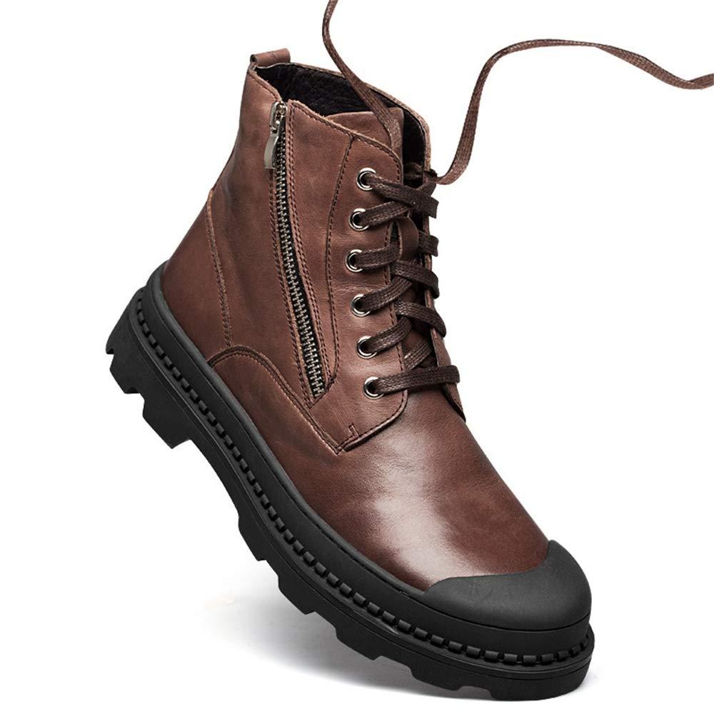 Qiusa Echtes Leder Stiefel für für für Männer Seitlichem Reißverschluss Rutschfeste Casual Durable Chukka Stiefel (Farbe   Braun, Größe   EU 40) 3896ed
