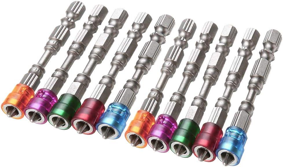 Bestgle 2 5PCS PH2 destornilladores juego de tornillos acero cruz magn/ética cabeza 1//4 pulgadas v/ástago 5 piezas v/ástago hexagonal