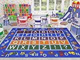 Ottomanson Jenny Collection Light Blue Frame with Multi Colors Kids Children's Educational Alphabet (Non-Slip) Area Rug, Blue, 5'0'' x 6'6''
