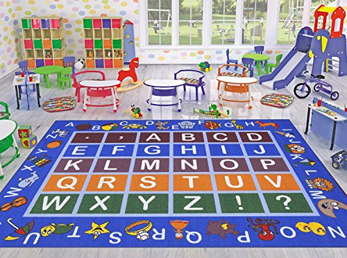 Ottomanson Jenny Collection Light Blue Frame with Multi Colors Kids Children's Educational Alphabet (Non-Slip) Area Rug, Blue, 8'2