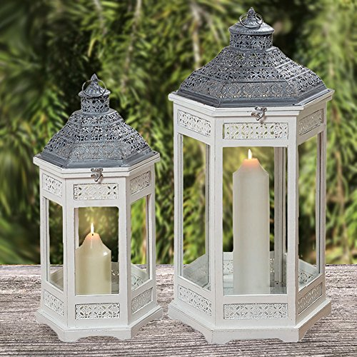 The Key West Tall Hurricane Lanterns, Set of 2, Rustic White Wood, Gray Pantina Metal Work, Vintage Temple Style, Top Opening, Glass Panels, 31 1/4 and 24 3/4 Inches, By Whole House Worlds by Whole House Worlds