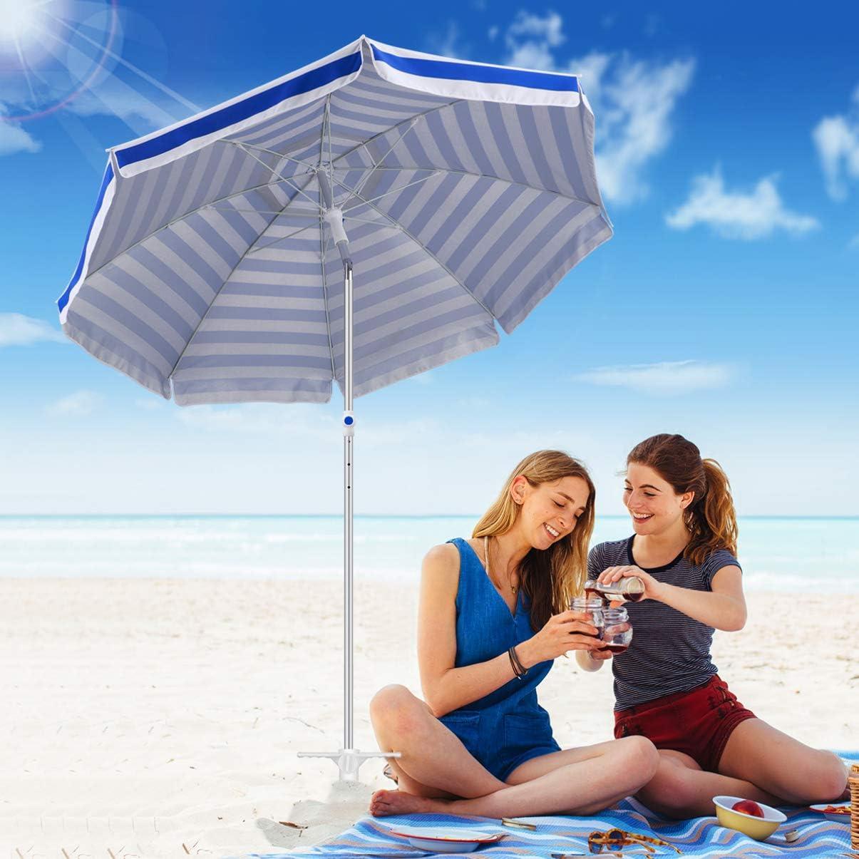 Porte-Parapluie de 8 Pouces avec Vis /à 3 Niveaux Taille Unique pour Tous Les Parapluies pour R/ésister Aux Vents Forts CLISPEED Ancrage de Sable pour Parasol Diam/ètre 1