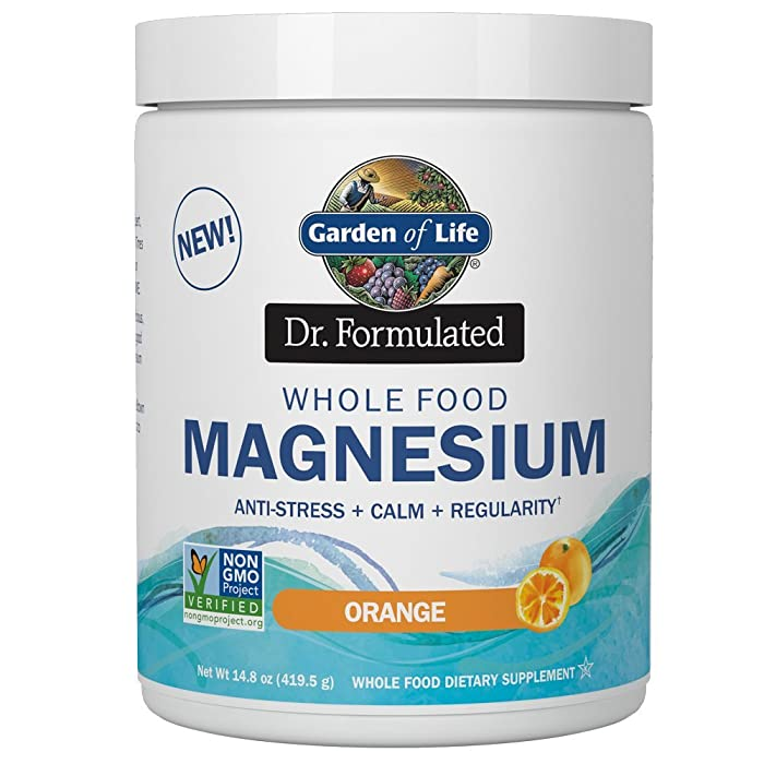 Garden of Life Dr. Formulated Whole Food Magnesium 419.5g Powder - Orange, Chelated, Non-GMO, Vegan, Kosher, Gluten & Sugar Free Supplement with Probiotics - Best for Anti-Stress, Calm & Regularity